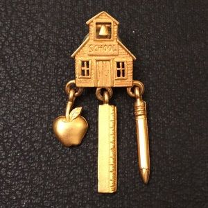 Vintage JJ Gold School House Dangle Brooch Pin